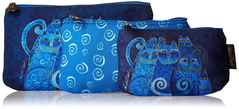 Laurel Burch Cosmetic Bag Indigo Cats Set of 3