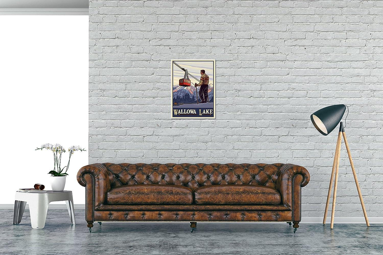 Amazon.com: Wallowa Lake Oregon Skier and Tram Travel Art Print Poster by Paul A. Lanquist (18