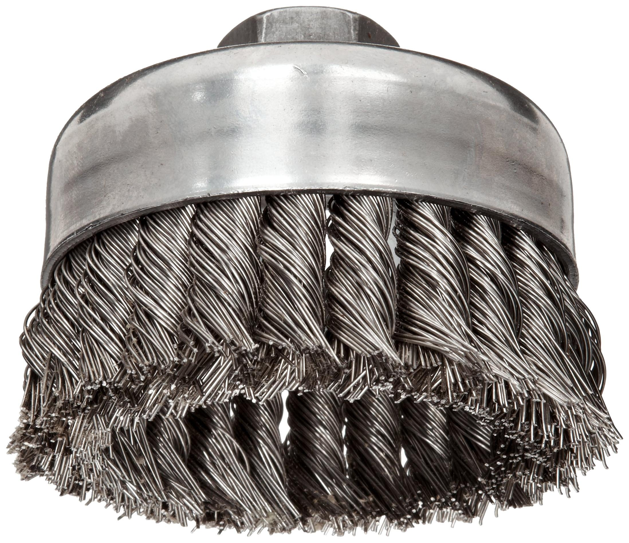 Weiler Wire Cup Brush, Threaded Hole, Stainless Steel 302, Partial Twist Knotted, 4'' Diameter, 0.023'' Wire Diameter, 5/8''-11 Arbor, 1-1/4'' Bristle Length, 9000 rpm (Pack of 1)