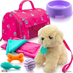 Play22 Plush Puppy Doll Set 9 PCS - Baby Doll Accessories, Puppy Dog, Leash, Carrier, Bowl, Bone, Bed, Blanket, Tennis Ball, Brush, Doll Puppy Set and Accessories Fits for 18 Inch American Girl Dolls