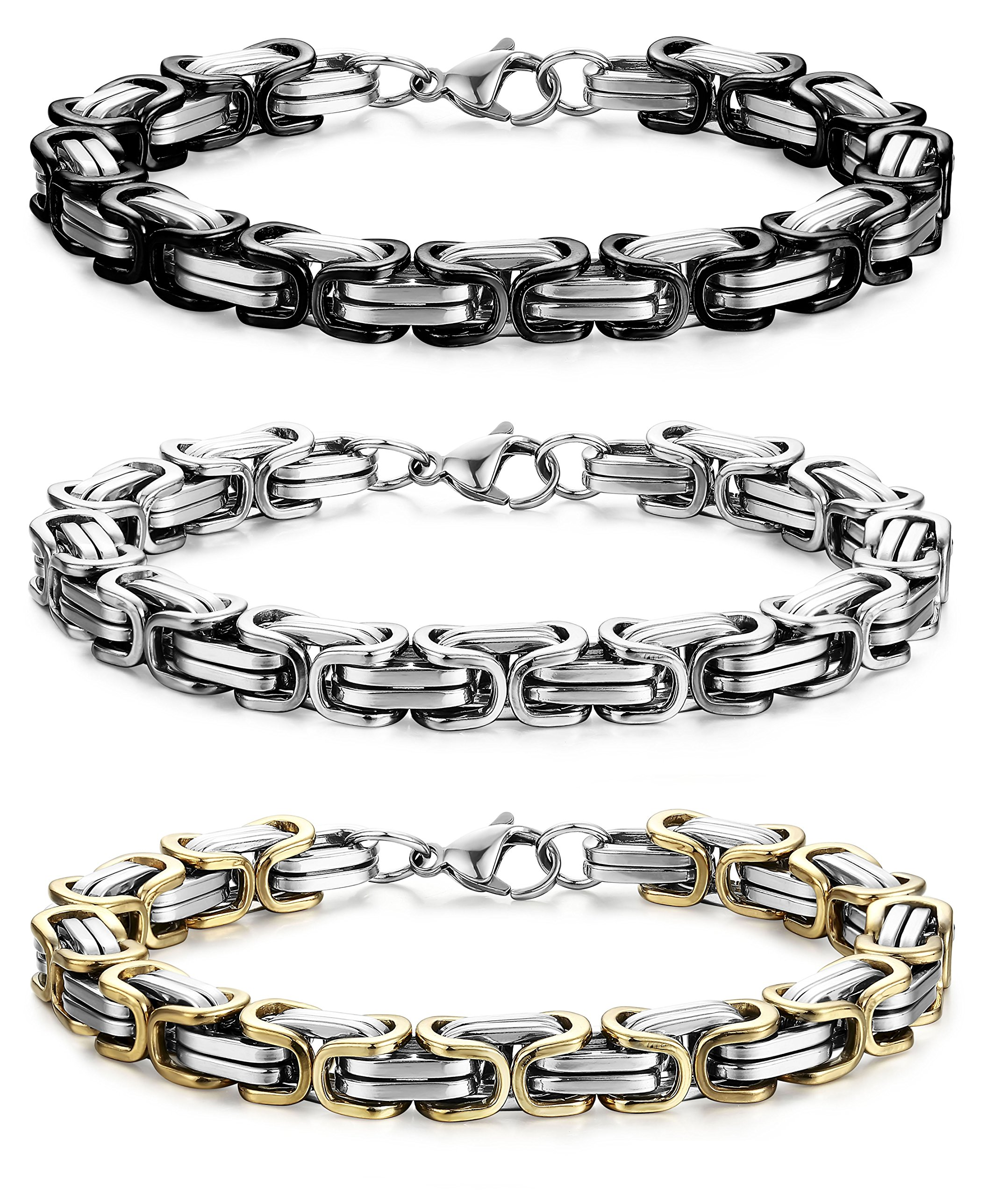 FIBO STEEL 3 Pcs 8MM Stainless Steel Chain Link Bracelets for Men Byzantine Bracelets,9.1 inches
