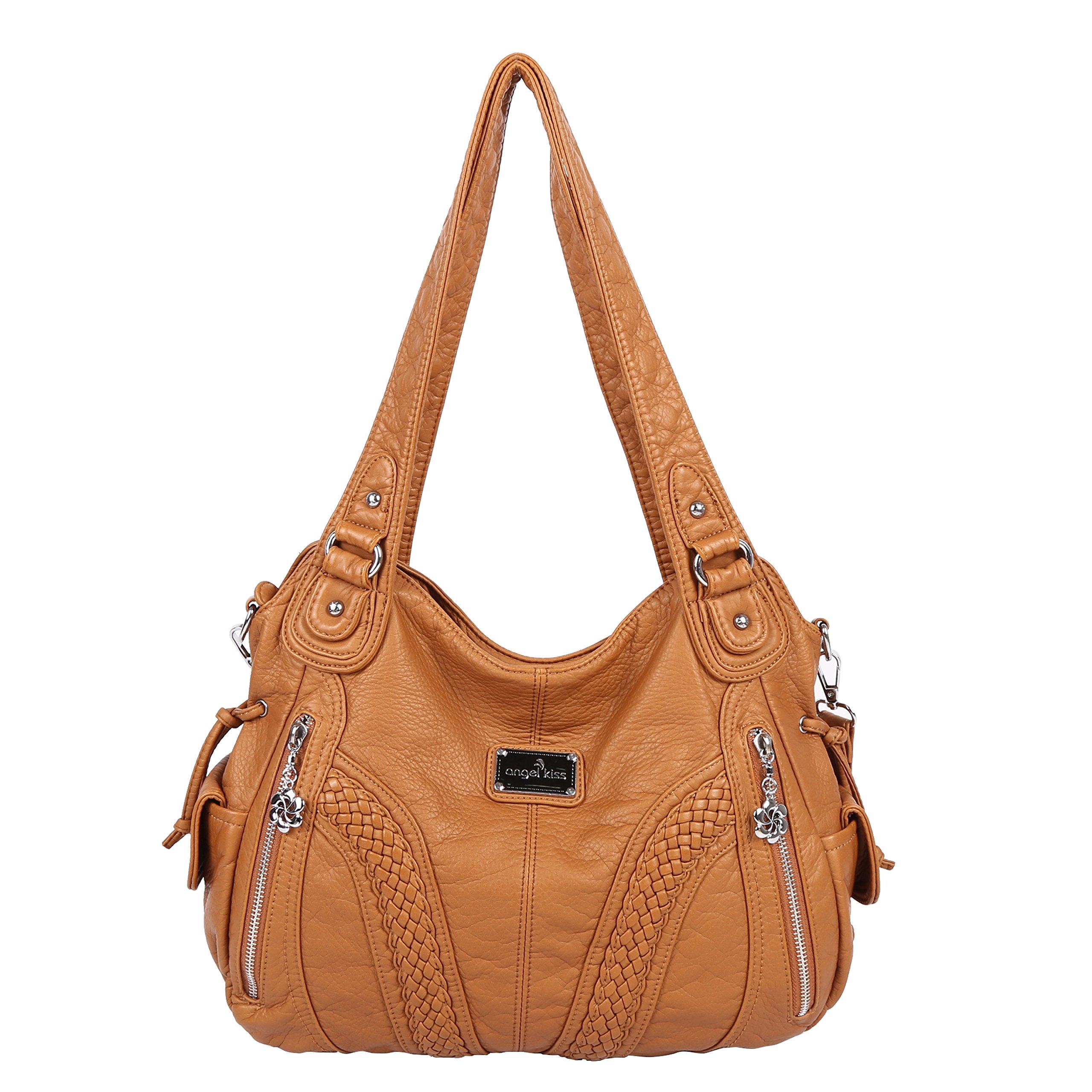 Angelkiss Women Top Handle Satchel Handbags Shoulder Bag Messenger Tote Washed Leather Purses Bag (L-Brown)