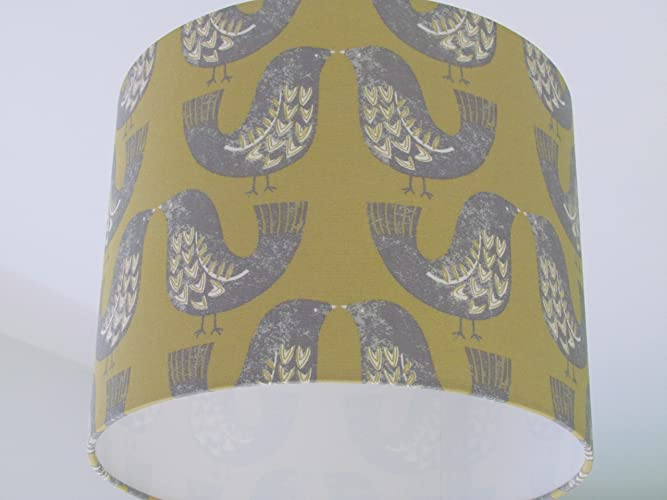 Handmade mustard yellow and grey scandinavian bird lampshade handmade mustard yellow and grey scandinavian bird lampshade lightshade choice of colours available mozeypictures Choice Image