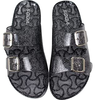 Soda Womens Open Toe Glitter Clear Double Buckle Jelly Sandal