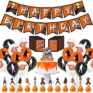 46pcs Naruto Birthday Party Decorations, Naruto Theme Party Decor Set for Happy Birthday Banner Cake Toppers Latex Balloons and Invitation Cards for Fans Boys Girls