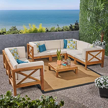Wood Sectional Patio Furniture.Amazon Com Christopher Knight Home Brava Outdoor 9 Piece Acacia