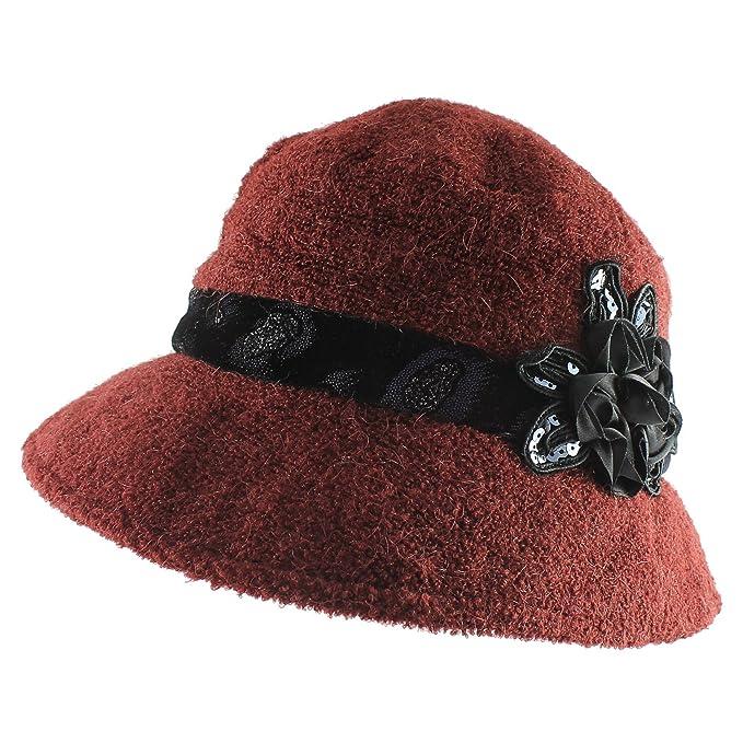 100% Wool Dressy Cloche Bucket Packable Warm Winter Hat with Velvet Trim -  Burgundy 7e74f5cfbf3d