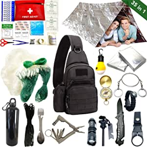 GO Safely Professional Emergency Survival kit for Camping Fishing Climbing Travelling Wilderness Adventures, Idea Gift for Him Husband Dad Teen Boys,Birthday Christmas. Military Shoulder Backpack.