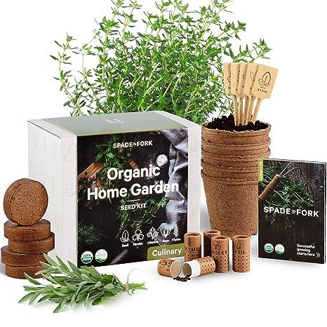 Indoor Herb Garden Starter Kit - Certified 100% USDA Organic Non GMO -  Potting Soil, Peat Pots, 5 Herb Seed Basil, Cilantro, Parsley, Sage, Thyme  -