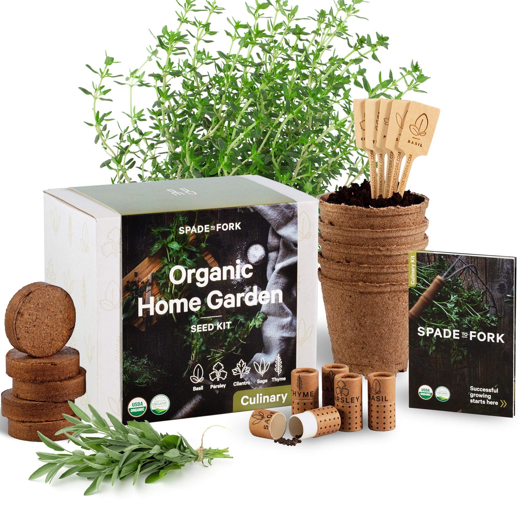 Indoor Herb Garden Starter Kit - Certified 100% USDA Organic Non GMO - Potting Soil, Peat Pots, 5 Herb Seed Basil, Cilantro, Parsley, Sage, Thyme - DIY Kitchen Grow Kit for Growing Herb Seeds Indoors by Spade To Fork (Image #1)