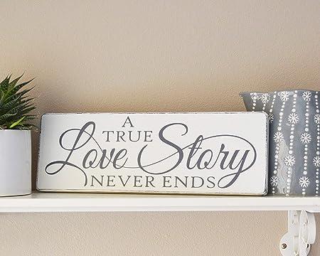 Cartel de Madera con Texto en inglés «A True Love Story ...