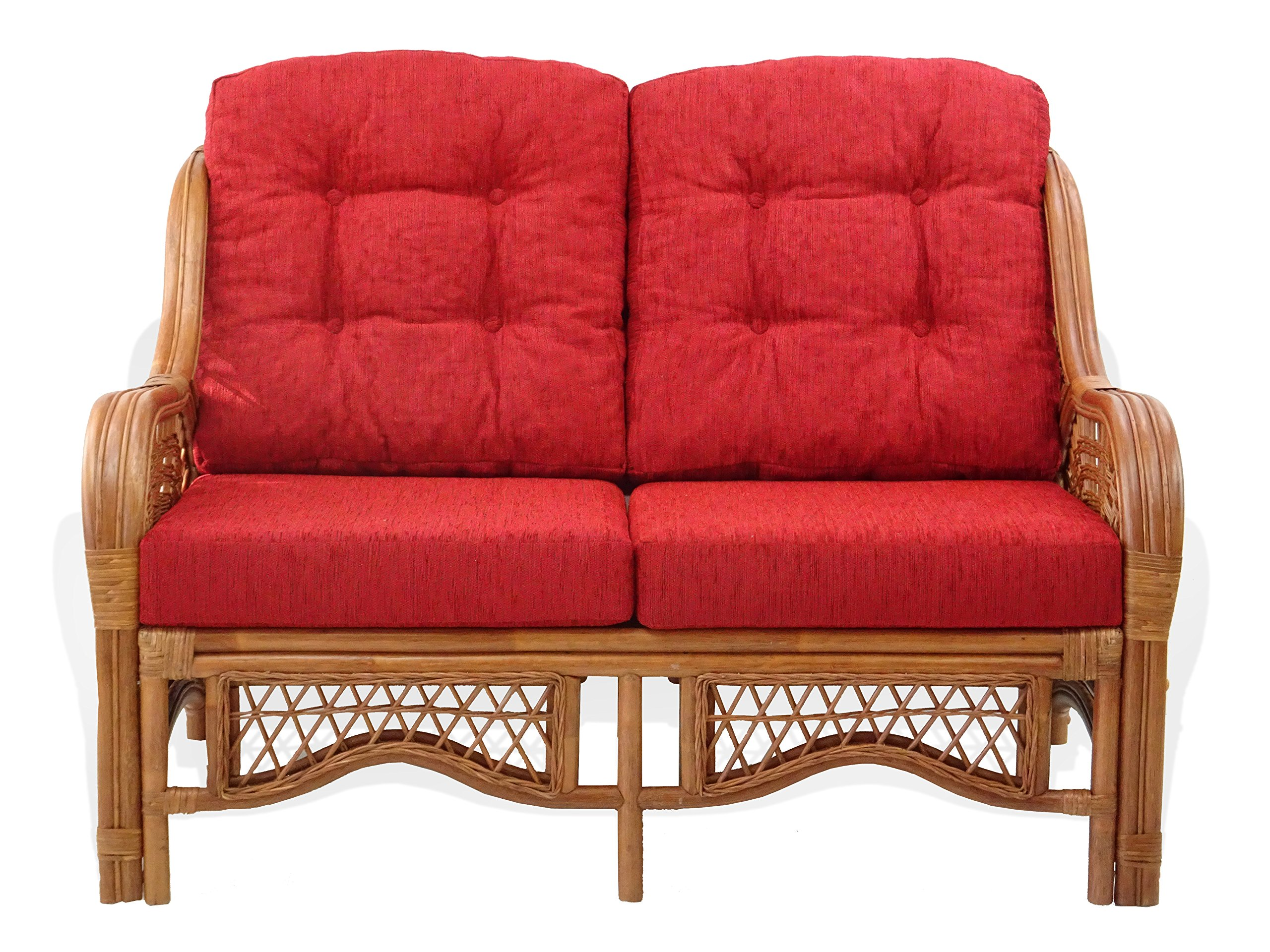 Malibu Lounge Loveseat Sofa Natural Rattan Wicker Handmade Design with Red Cushions, Colonial - ~Natural Rattan (Wicker) ~Color: Colonial ~Very easy to assemble - sofas-couches, living-room-furniture, living-room - 918Ulb0HHxL -
