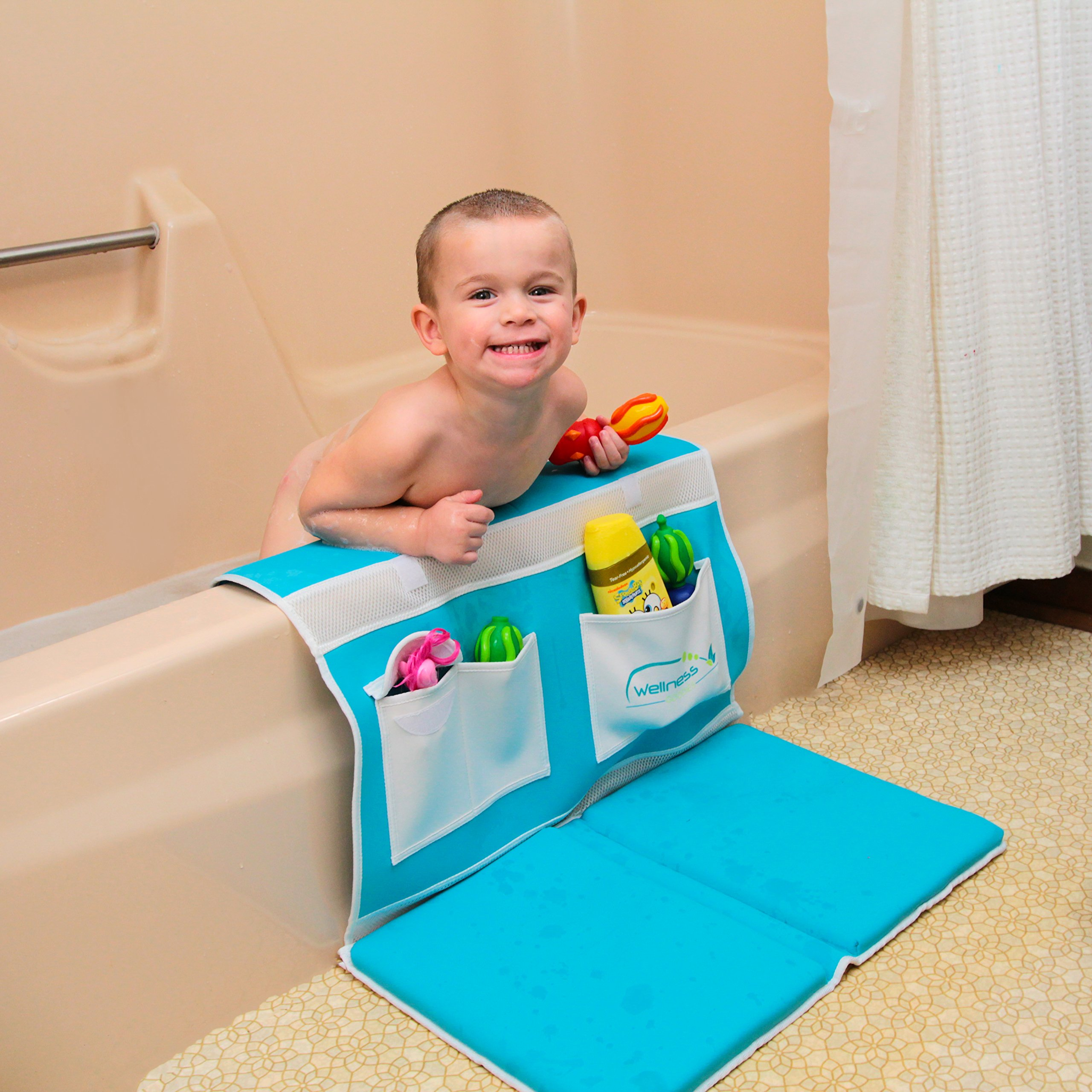 Wellness Goodies Baby Bath Kneeler and Elbow Pad -Deluxe Safety Bath Kneeler Designed to Ease Knee and Elbow Pain -Comfort Pad, Non Slip, Comfort Padding, Foldable & Washable -Perfect Baby Shower Gift