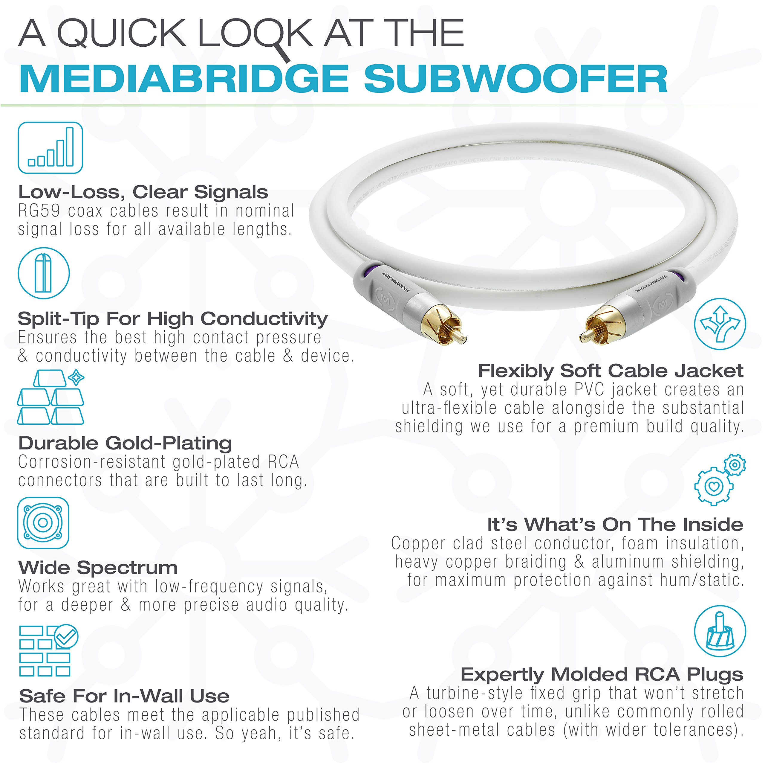 ULTRA Series Subwoofer Cable - Dual Shielded RCA to RCA by Mediabridge (Image #6)