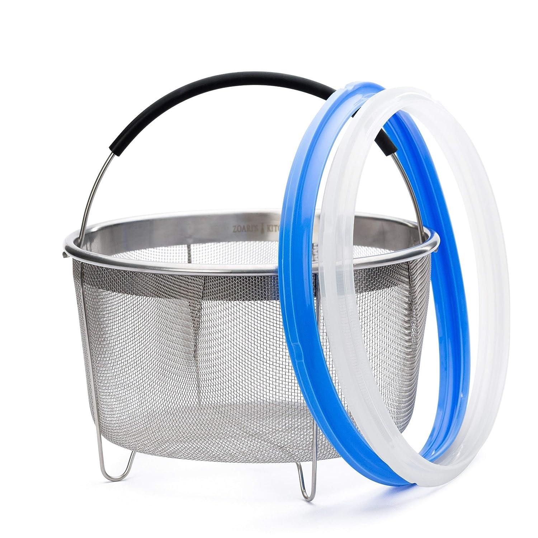 Zoari's Kitchen Instant Pot Accessories - 6Qt Instant Pot Steamer Basket with 2-pack Sealing Rings Bundle for InstaPot 6 Quart Ultra Egg Basket Strainer with Silicone Handle and 6 qt Sealing Ring Zoari's Kitchen