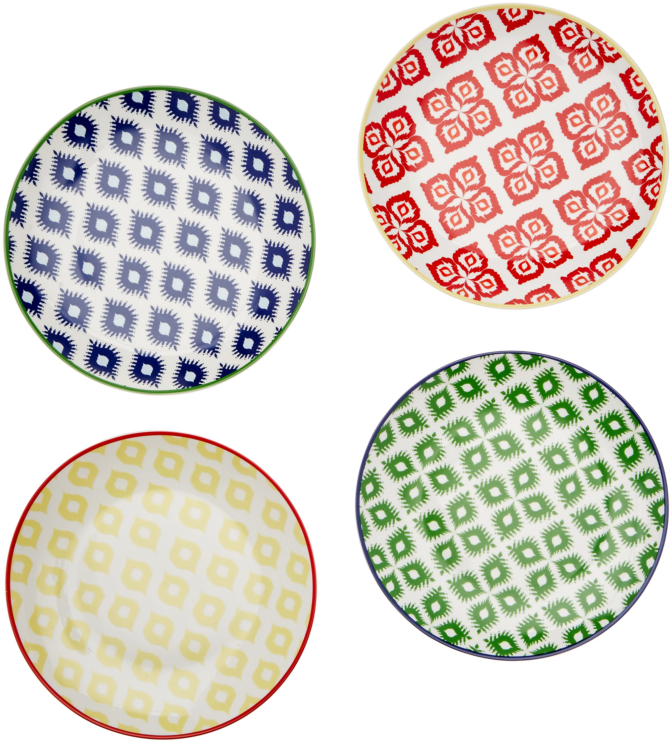 Paperproducts Design Belize Salad/Dessert Plate (Set of 4), 10 x 9 x 2.5'', Multicolor