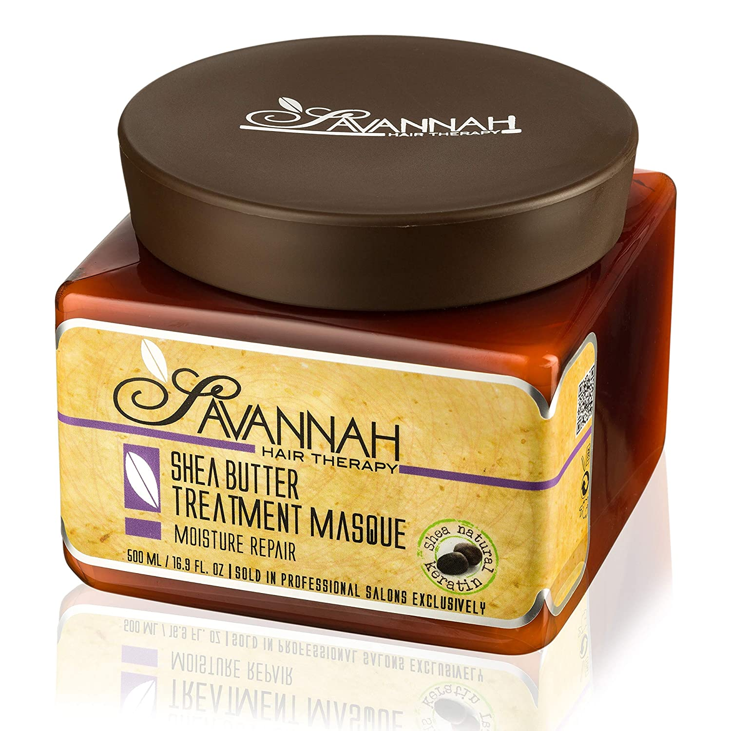 Savannah Hair Therapy Treatment Mask - Shea Butter, Cotton and Silk Protein and Vitamin B6 - For Dry and Damaged Hair. 16.9 oz