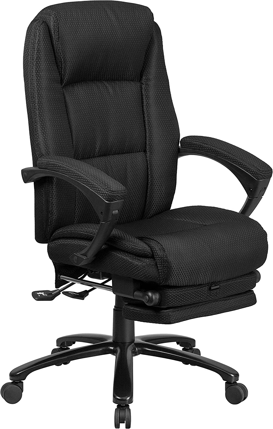 Flash Furniture High Back Black Fabric Executive Reclining Ergonomic Swivel Office Chair with Comfort Coil Seat Springs and Arms