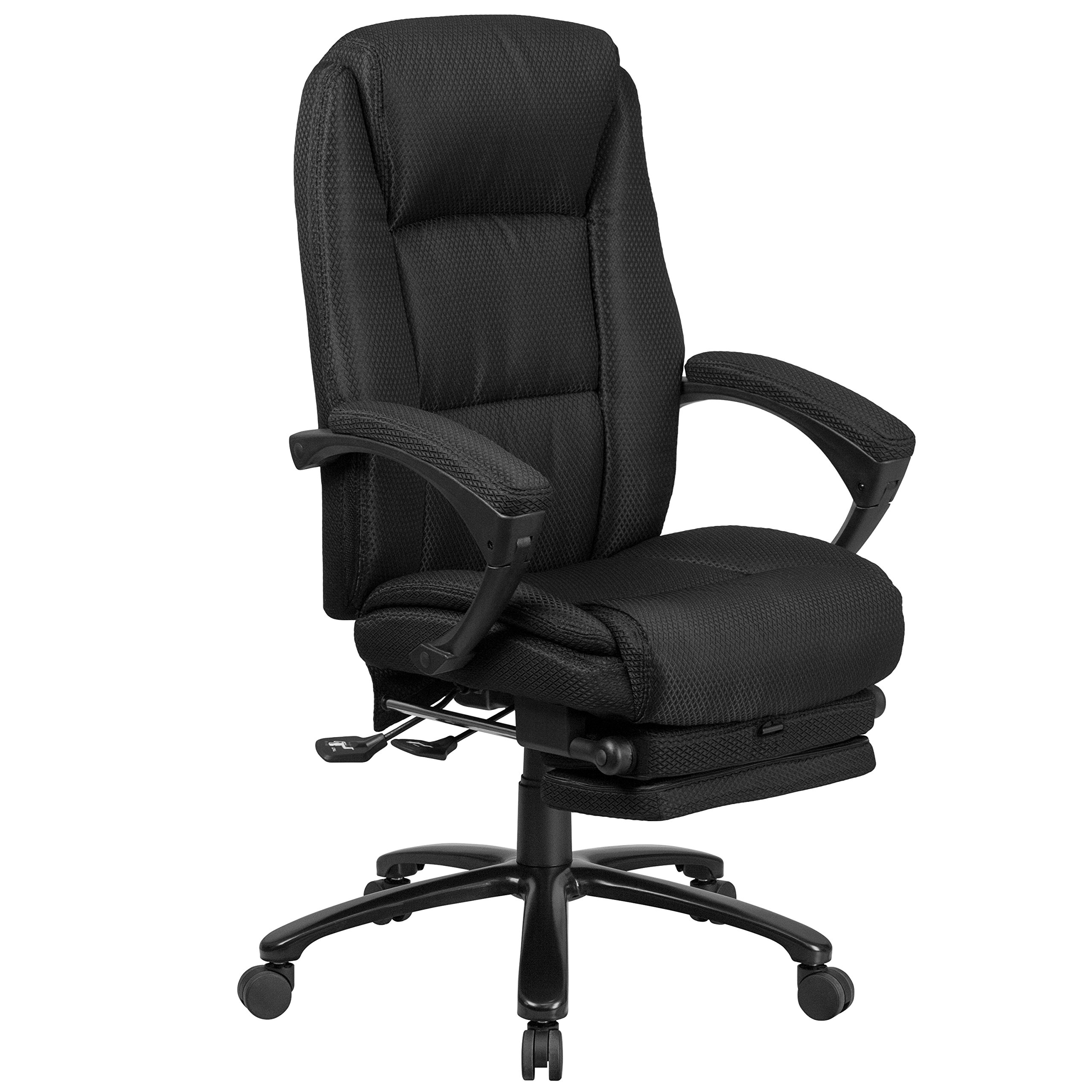 Flash Furniture High Back Black Fabric Executive Reclining Ergonomic Swivel Office Chair with Comfort Coil Seat Springs and Arms by Flash Furniture