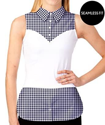 1cc94a8c0 Amazon.com  SkinnyShirt Lynne Sleeveless Royal Blue Gingham Shirt ...