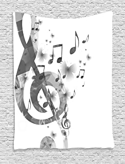 Ambesonne Music Decor Collection With G Clef Key Instrument Monochrome Creative Rhythmic Ornate