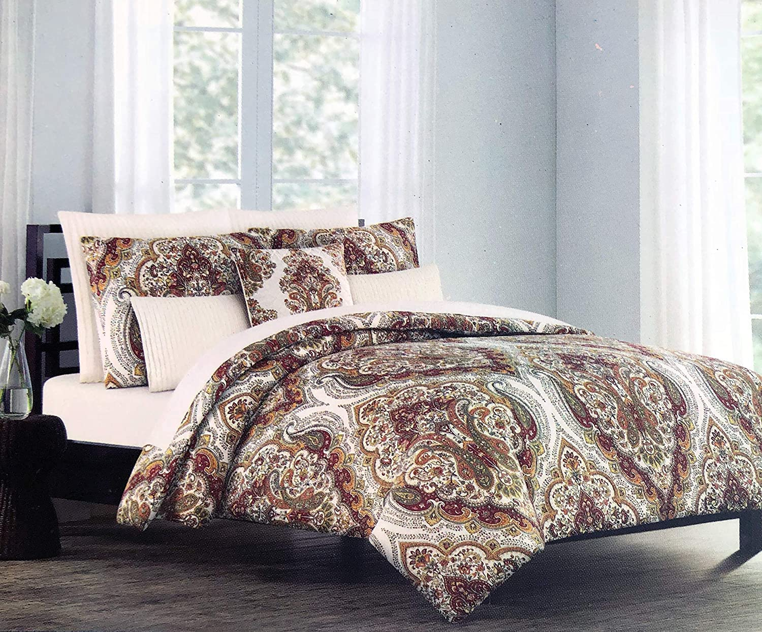 Tahari Home Maison Bedding 3 Piece Full/Queen Size Luxury Cotton 3 Piece Duvet Comforter Cover Shams Set Rust Orange Brown Taupe Boho Intricate Floral Paisley Medallions on White - Salma Paisley