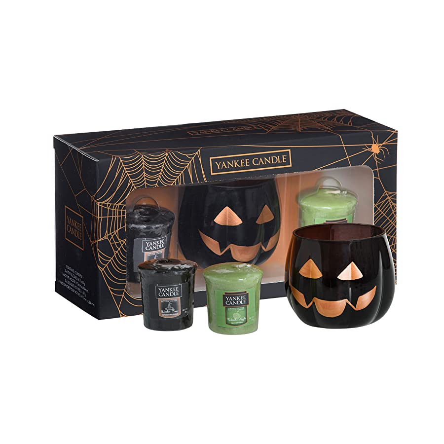 yankee candle votive, cartone e cera set regalo di Halloween, nero