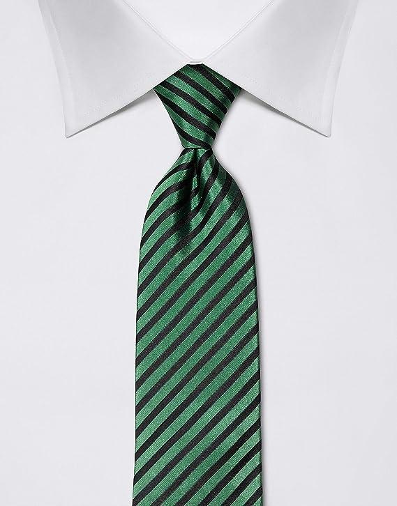 Vincenzo Boretti Corbata de hombre en seda pura, de rayas verde ...