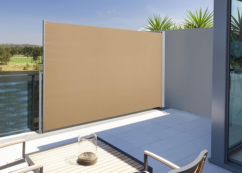 Sonnenschutz Sichtschutz Taupe Mit Bodenmontage Seitenrollo 160 X