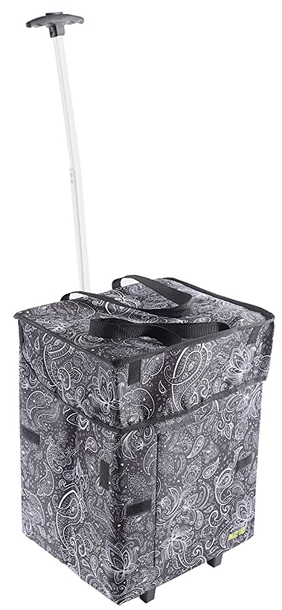 afece68841d6 dbest products Bigger Smart Cart, Paisley Collapsible Rolling Utility Cart  Basket Grocery Shopping Teacher Hobby Craft Art