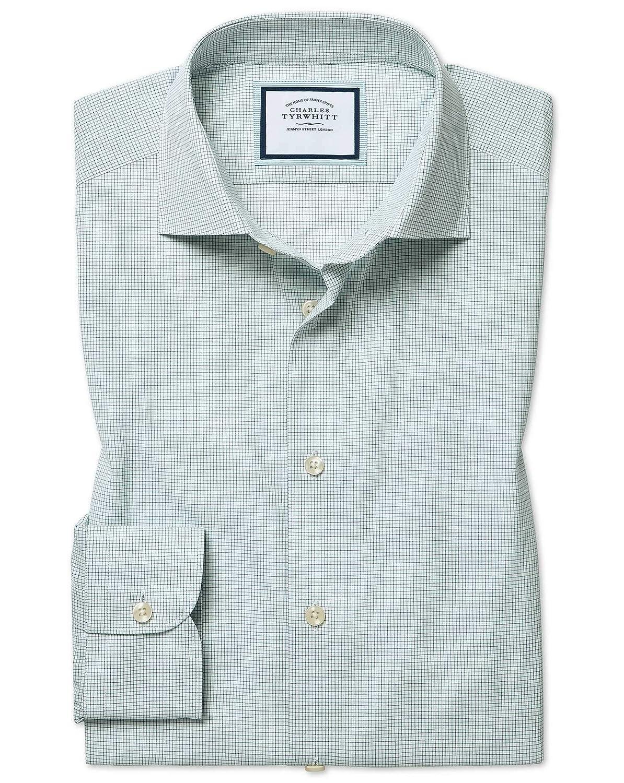 Chemise En Coton égypcravaten Effet Peau-De-Pêche Verte Et Bleue à voiturereaux Extra Slim Fit   Vert Bleu (Poignet Simple)   16   36