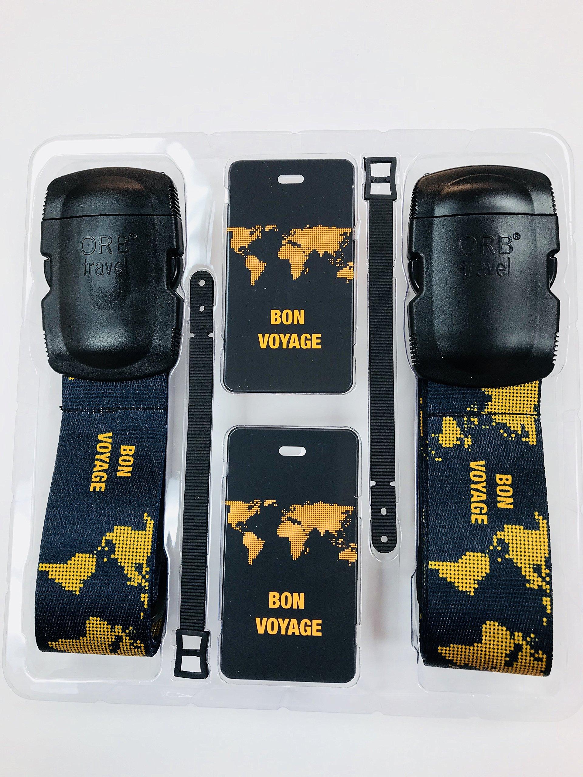 ORB - Travel Essentials Kit Luggage Strap Heavy Duty Buckle. (TE208-Tangerine)