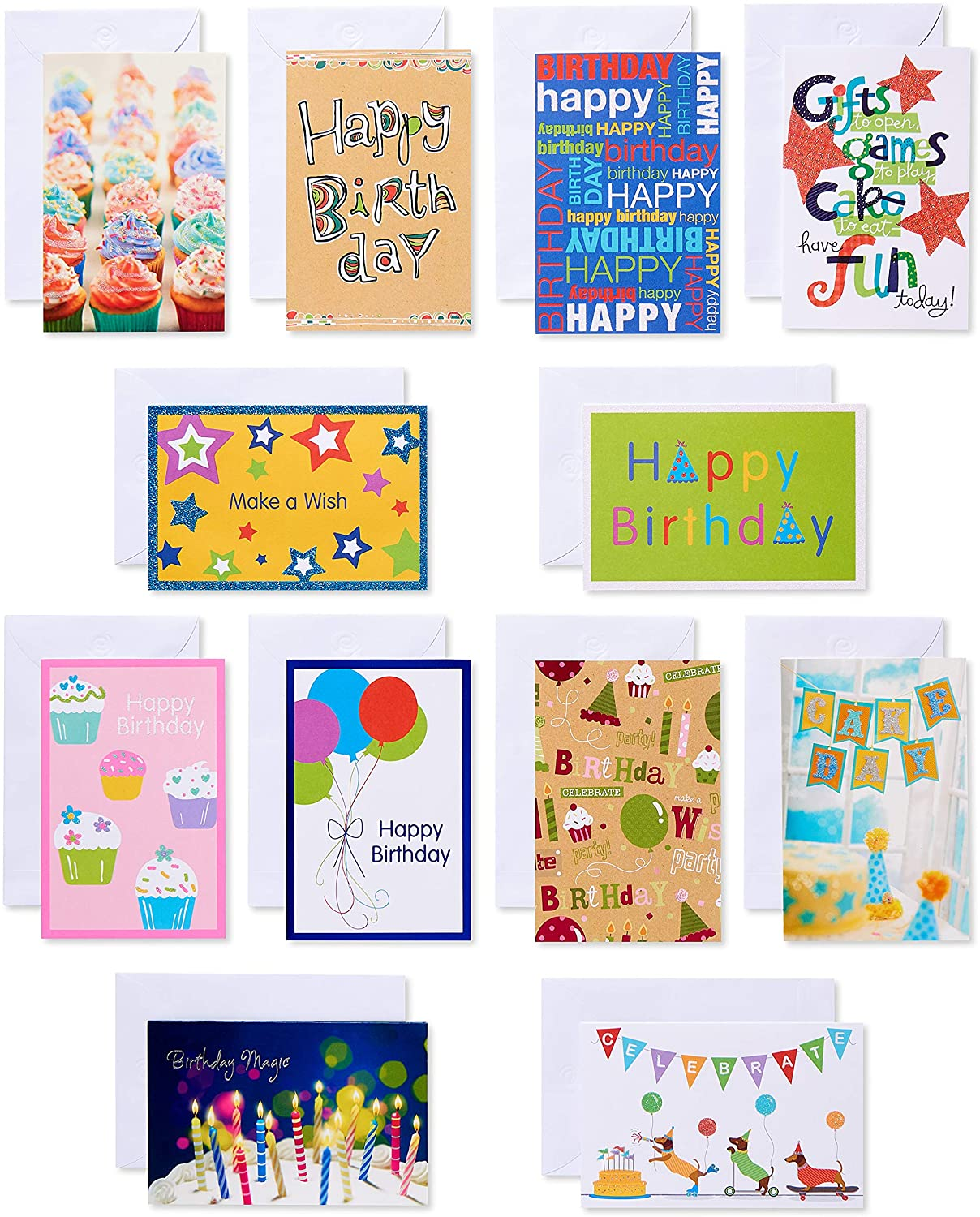 Superb Amazon Com American Greetings Kids Birthday Cards Assorted 12 Personalised Birthday Cards Paralily Jamesorg