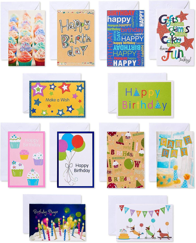 Sensational Amazon Com American Greetings Kids Birthday Cards Assorted 12 Personalised Birthday Cards Paralily Jamesorg
