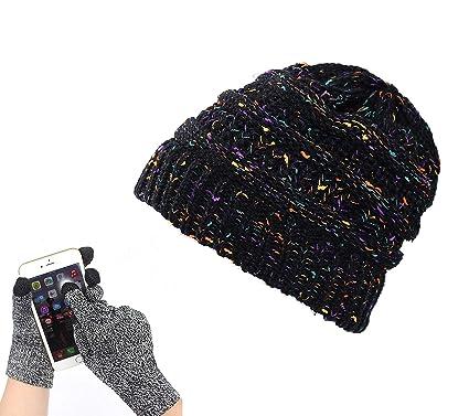 5f9eca2db79b5 Ufoyer Trendy Unisex Colorful Confetti Soft Stretch Cable Knit Beanie Skull  Cap+Touch Screen Texting