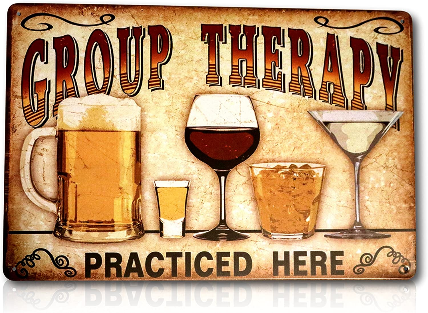Save Directly Funny Group Therapy Practiced Here Sign - Beer Alcohol Shot Wine Whiskey Martini Vintage Retro Tin Pub Metal Tin Wall Signs Size: 8x12 Inches
