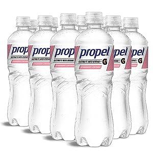 Propel, Strawberry Lemonade, Zero Calorie Water Beverage with Electrolytes & Vitamins C&E, 24 Fl Oz (Pack of 12)