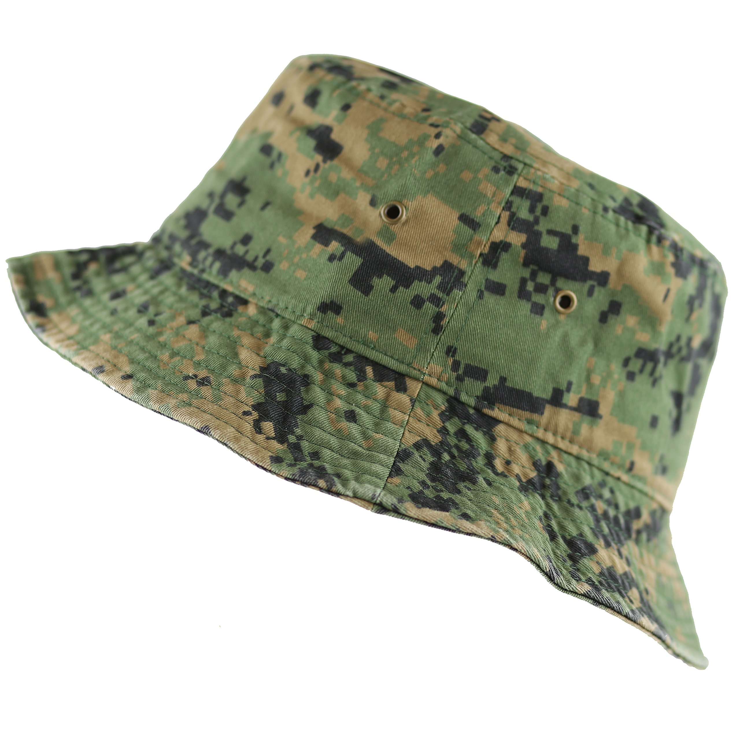 THE HAT DEPOT 300N Unisex 100% Cotton Packable Summer Travel Bucket Hat (S/M, Digital Camo)