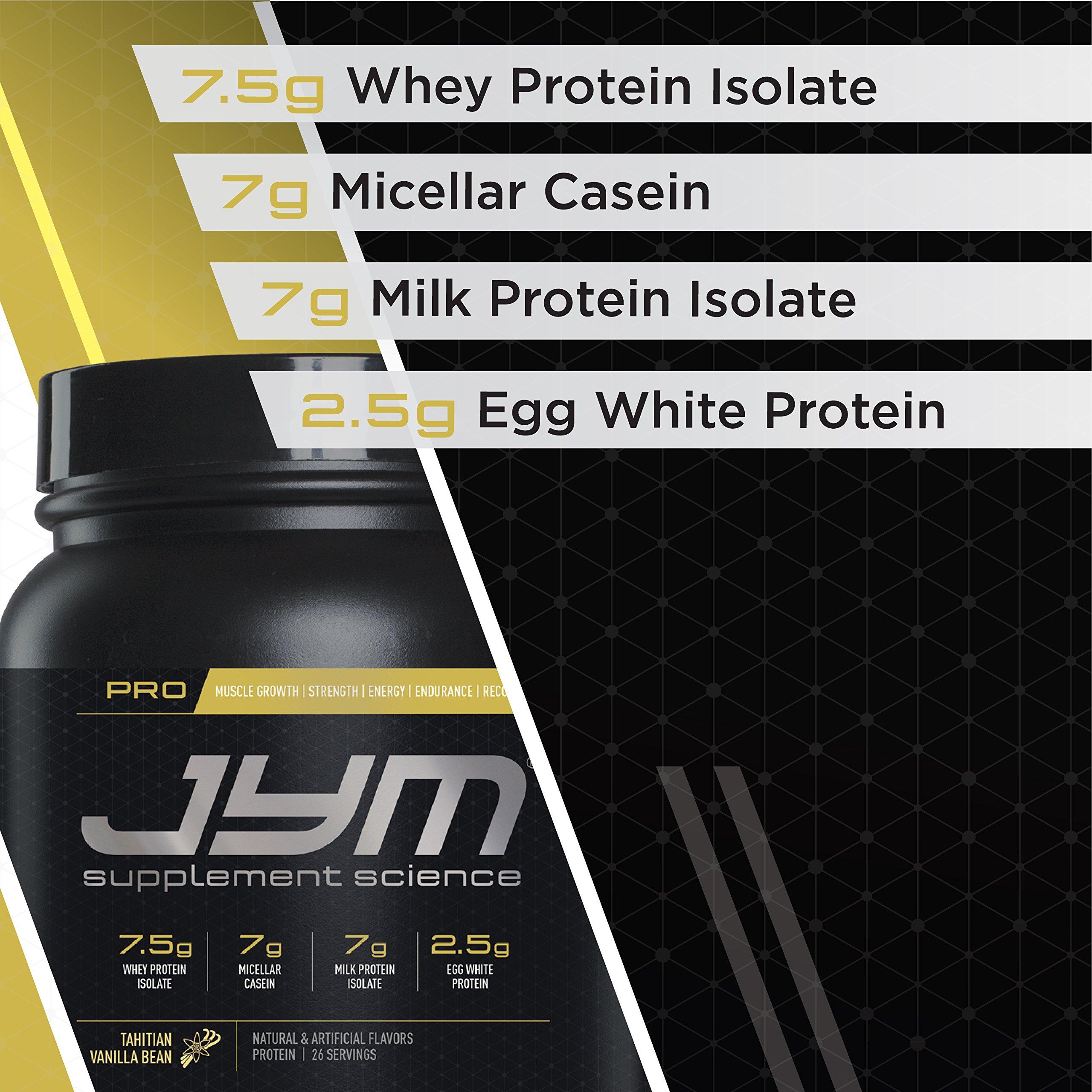 Pro Jym Protein Powder - Egg White, Milk, Whey protein isolates & Micellar Casein   JYM Supplement Science   Tahitian Vanilla Bean Flavor, 4 Lb by JYM Supplement Science (Image #4)