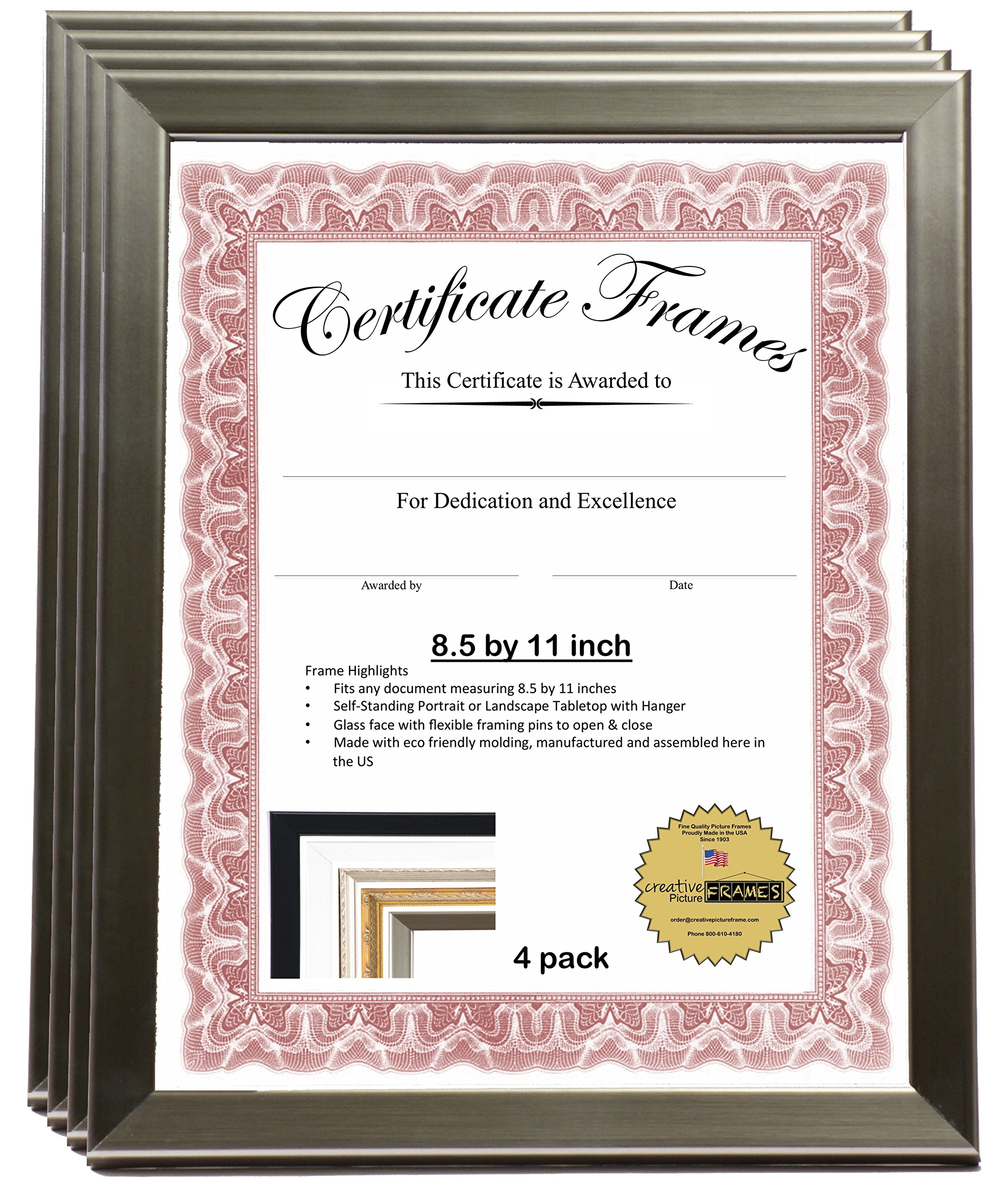 CreativePF- 8.5 by 11 inch Stainless Steel Certificate Frames Collection for Professionals- Displays Certificates, Achievements , Awards and more -Self Standing with Hanger (4-Pack)