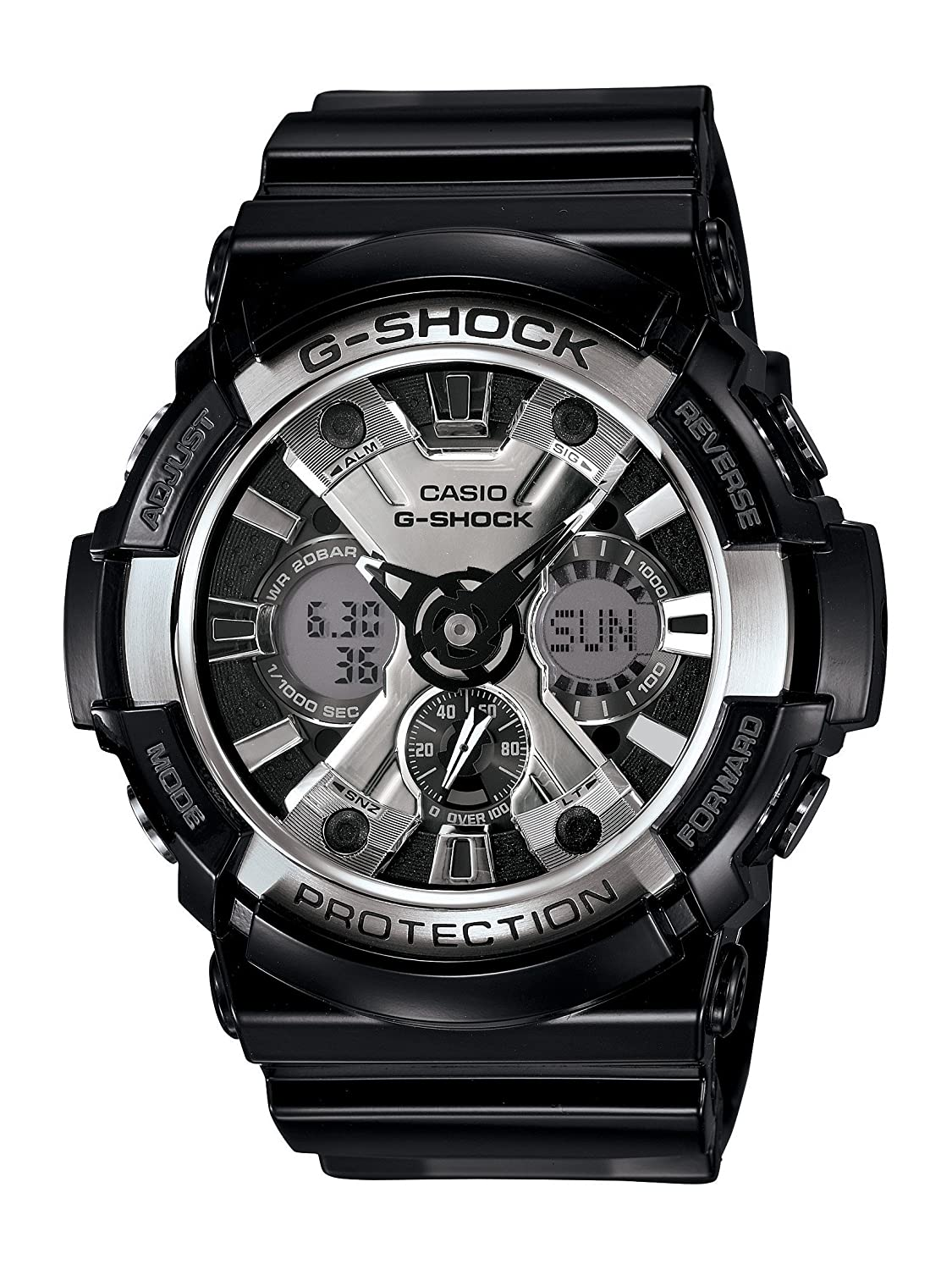 80174b6dec6 Amazon.com  Casio Men s XL Series G-Shock Quartz 200M WR Shock Resistant  Resin Color  Glossy Black and Chrome Face (Model GA-200BW-1ACR)  Casio   Watches