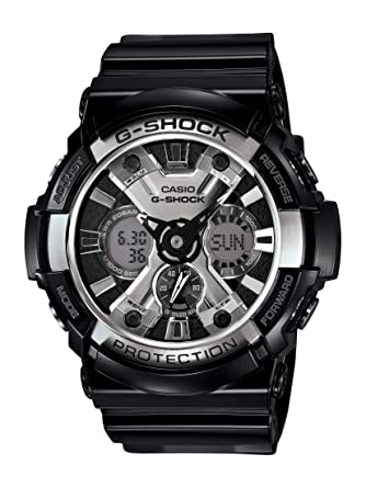 5b8f84a93af6 Amazon.com  Casio Men s XL Series G-Shock Quartz 200M WR Shock Resistant  Resin Color  Glossy Black and Chrome Face (Model GA-200BW-1ACR)  Casio   Watches
