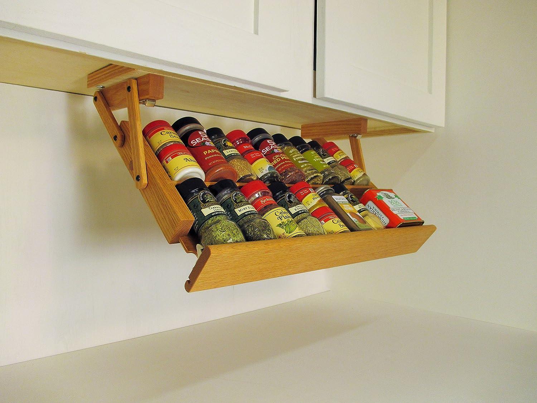 Ultimate Kitchen Storage Under Cabinet Spice Rack Handmade Hardwood Holds 16 Large Or 32 Small Spice Containers By Ultimate Kitchen Storage Amazon Co Uk Kitchen Home