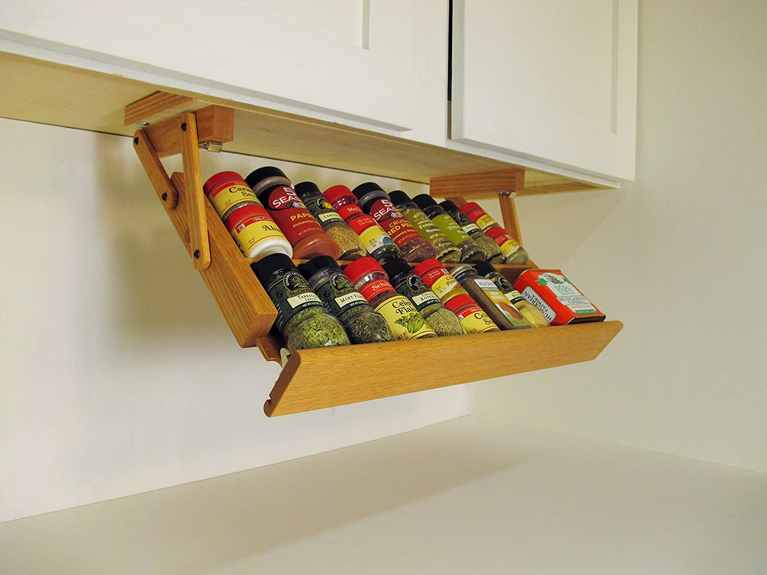 Amazon.com: Ultimate Kitchen Storage Under Cabinet Spice Rack, Handmade  Hardwood, Holds 16 Large or 32 Small Spice Containers: Kitchen & Dining