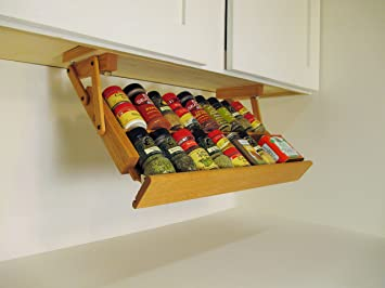 Delightful Ultimate Kitchen Storage Under Cabinet Spice Rack, Handmade Hardwood, Holds  16 Large Or 32