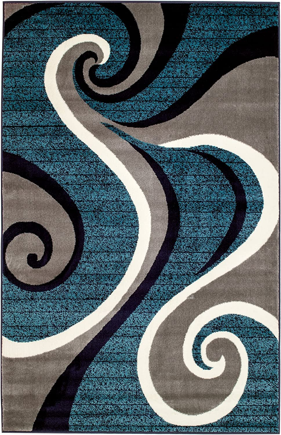 Summit CHM 201 New 032Swirl Blue Navy White Light Gray Area Rug Abstract Carpet Sizes Available , 2 X 3 ACTUAL IS DOOR MAT 22''X35''
