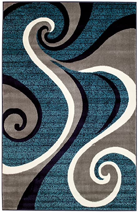Superieur SUMMIT BY WHITE MOUNTAIN Summit CHM 201 New 032Swirl Blue Navy White Light Gray  Area Rug