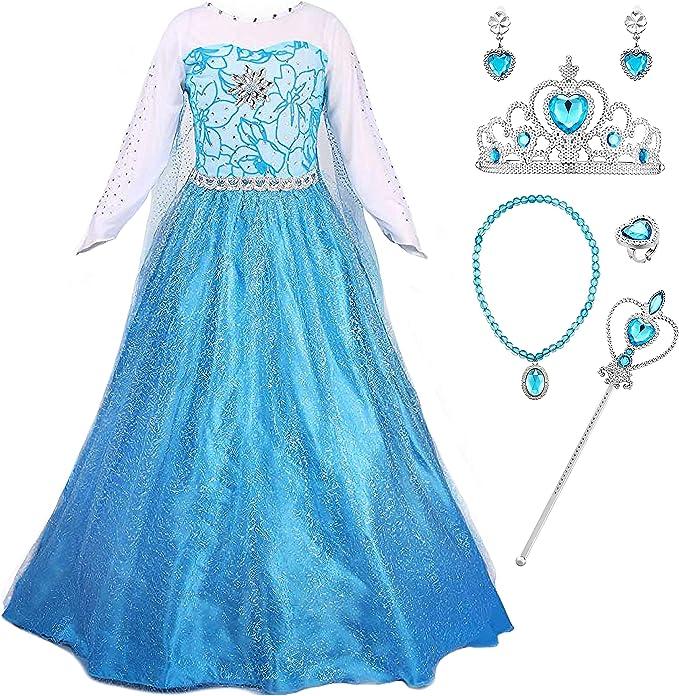 YOSICIL Vestido de Princesa Azul Disfraz de Frozen Elsa con Capa ...