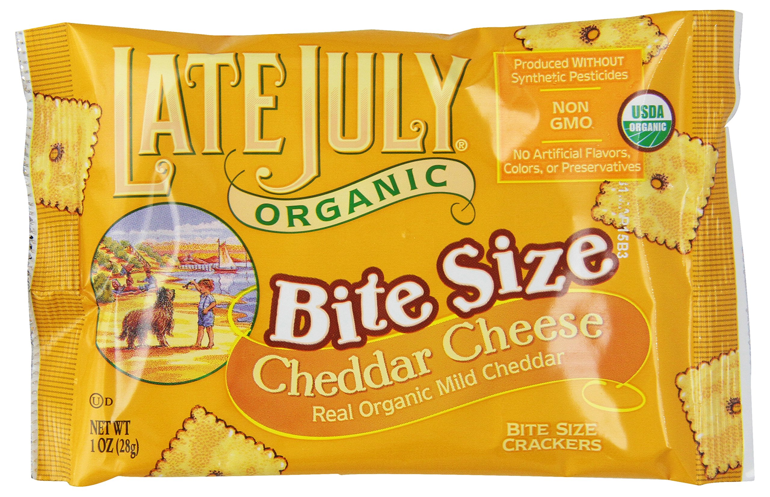 Late July Organic Bite Size Cheddar Cheese Crackers, 8-Count Boxes, 8 oz,  (Pack of 4)