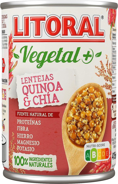 Litoral Vegetal Lentejas, con quínoa y chía, 415g